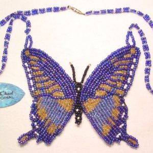 A. Chael Original Blue and Gold Butterfly Necklace