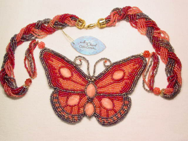 A. Chael Original Magenta Butterfly Necklace