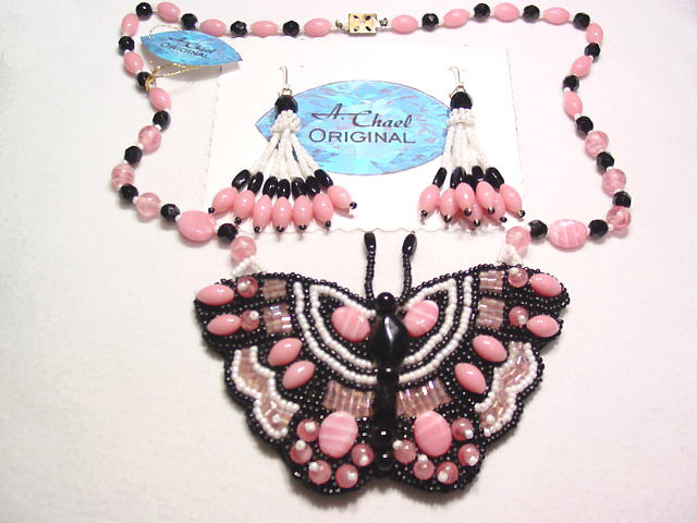 A. Chael Original Pink, White and Black Butterfly Necklace and Earrings Set