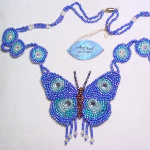 A. Chael Original Blue and Aqua Butterfly Necklace