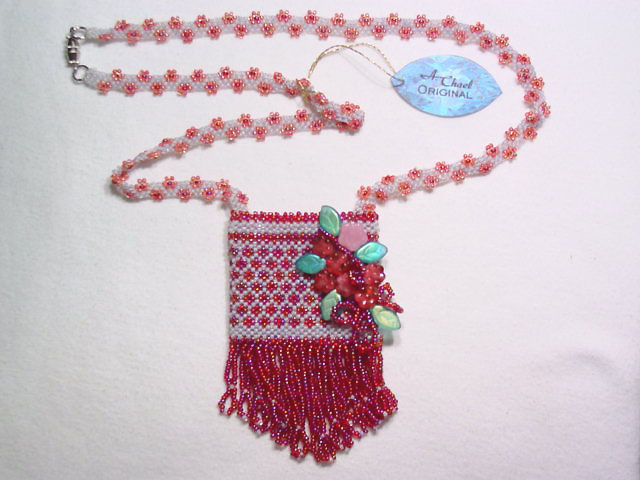 A. Chael Original Maroon and Gray Amulet Pouch Necklace