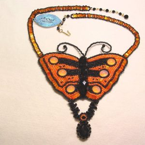 A. Chael Original Bright Orange and Black Butterfly Necklace