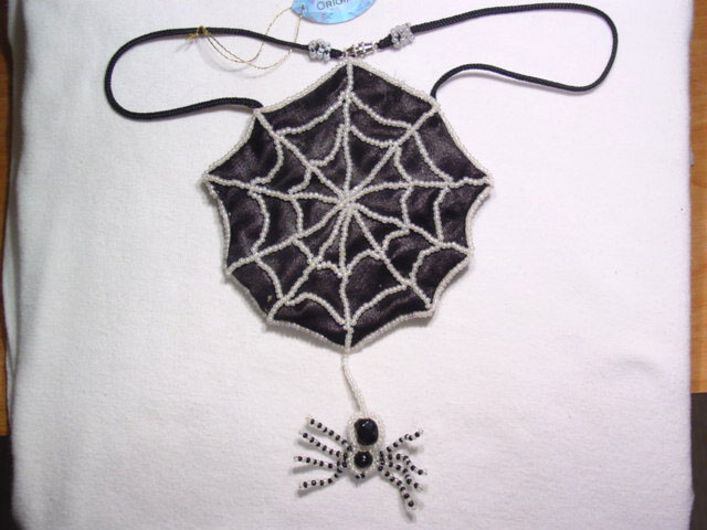 A. Chael Original Spider and Web Amulet Pouch Necklace