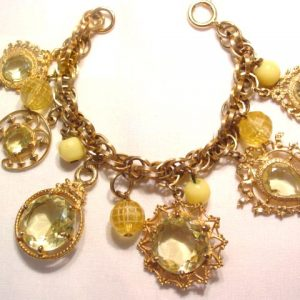 German Citrine Colored Rhinestone Charm Bracelet