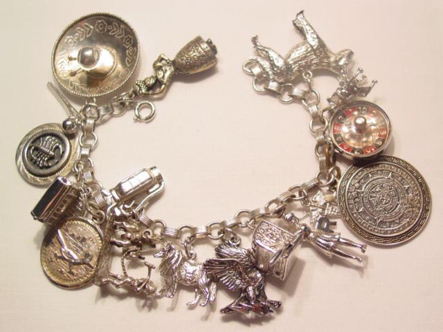 Huge Sterling Charm Bracelet with 17 Charms