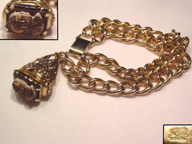 Coro Double Knight Cameo Bracelet