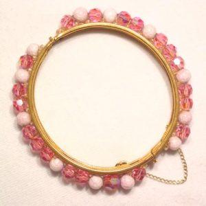 Bright Pink Aurora Borealis Hinged Bracelet