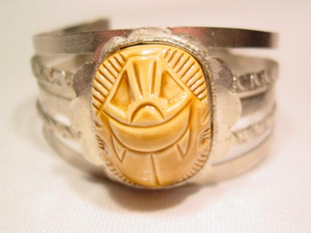 Beige Plastic Scarab Bracelet