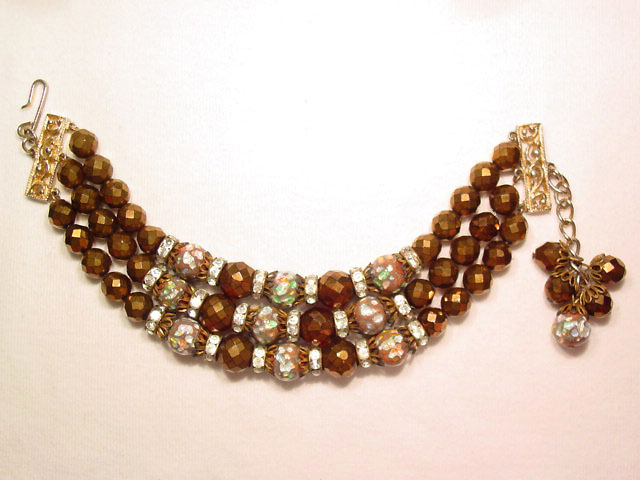 Brown and Murano Beaded Bracelet