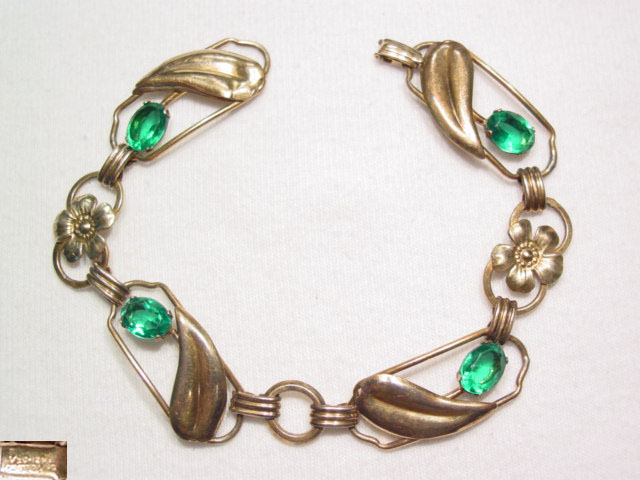 Gold Over Sterling Floral and Green Rhinestone Bracelet