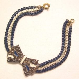 Old Blue and White Enamel Bow Bracelet