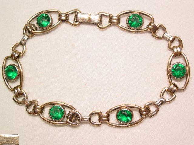 Sturdy Gold Filled Green Bracelet
