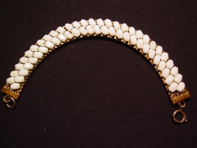 White Milk Glass Mesh Bracelet