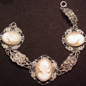 Scrolled Silver and Triple Shell Cameo Bracelet