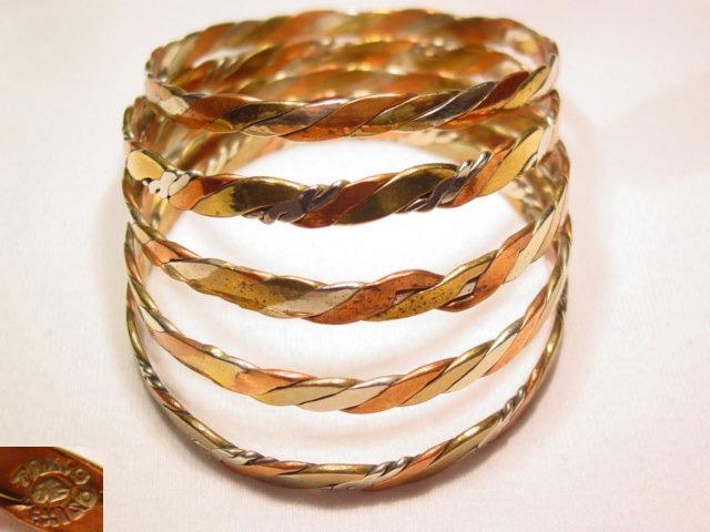 5 Tri-Color Mexican Bangle Bracelets