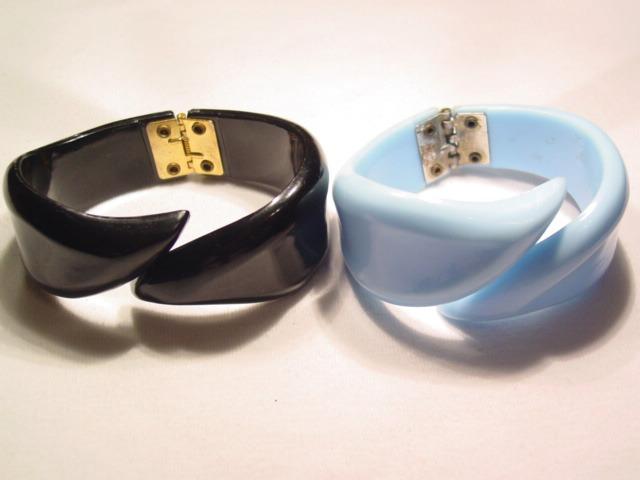Black and Blue Plastic Clamper Bracelets Set