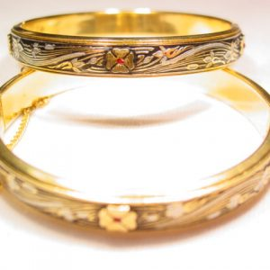 Matching Spanish Damascene Hinged Bracelets