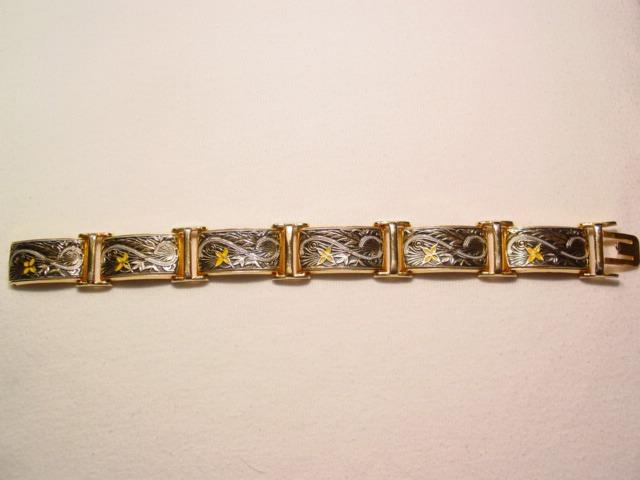 Spanish Style Damascene Rectangle Linked Floral Bracelet