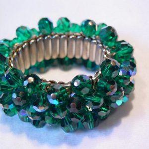 Beautiful Emerald Green Aurora Borealis Expansion Bracelet