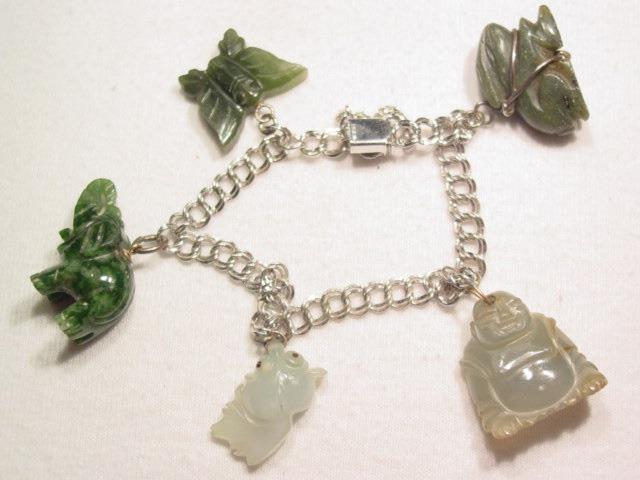 Jade and Sterling Charm Bracelet