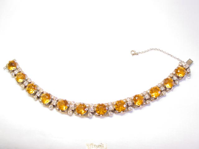 Heavy Topaz-Colored and Clear Rhinestone Sterling Bracelet