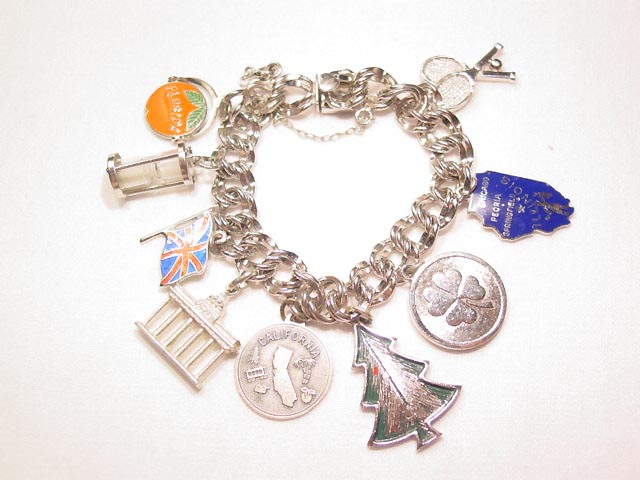 Sterling Elco Charm Bracelet with 9 Charms