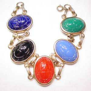 Beautiful Large Scarab Glass Bracelet