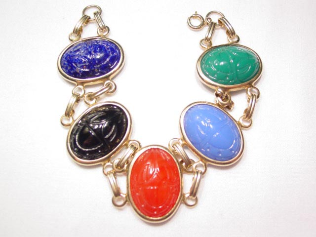 Beautiful Large Scarab Glass Bracelet