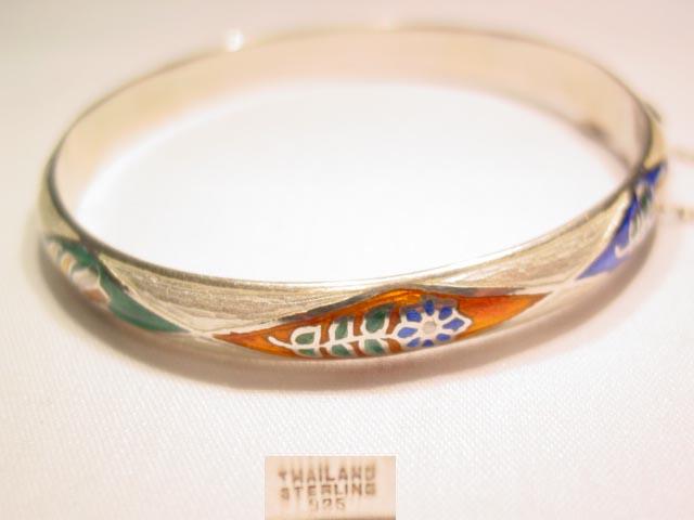 Thailand Sterling Floral Enamel Hinged Bracelet