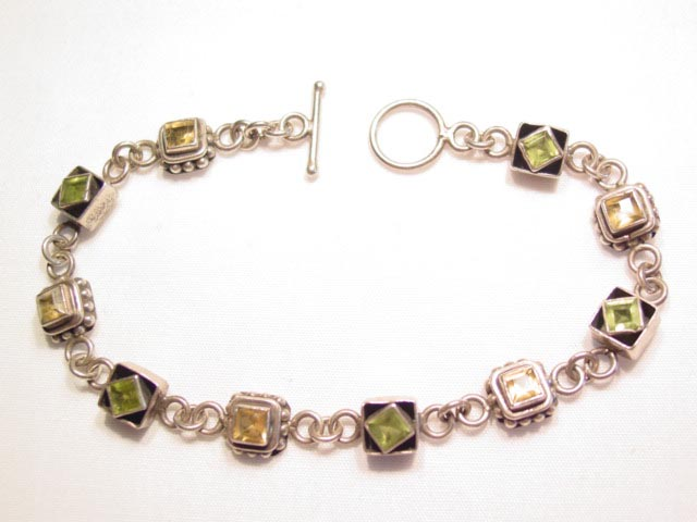 Sterling Pale Green and Yellow Bracelet