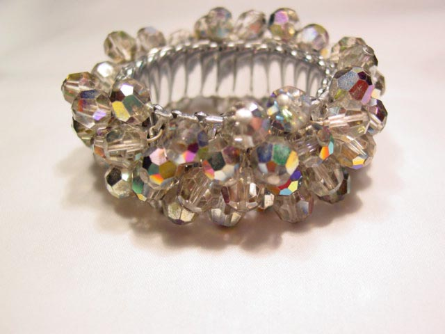 Gray Aurora Borealis Beads Expansion Bracelet