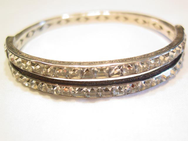 Fantastic Square Rhinestone and Sterling Filigree Hinged Bracelet