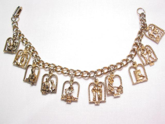 Wonderfully Detailed Ten Commandments Charm Bracelet