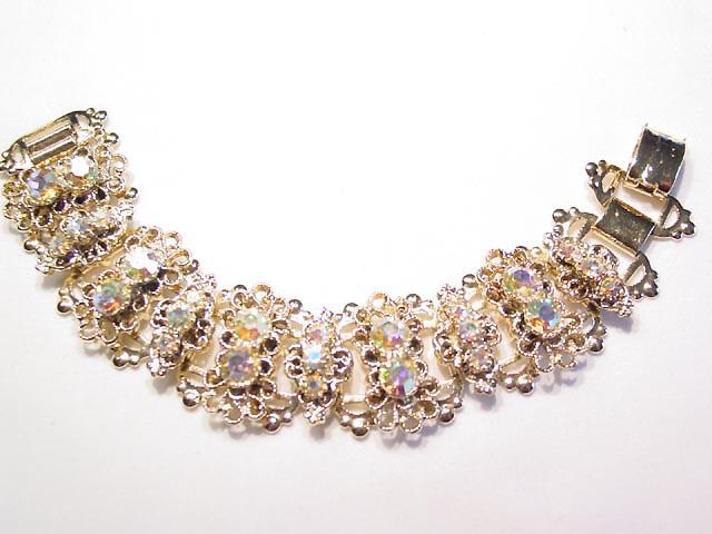 Bright Goldtone and Aurora Borealis Wide Bracelet
