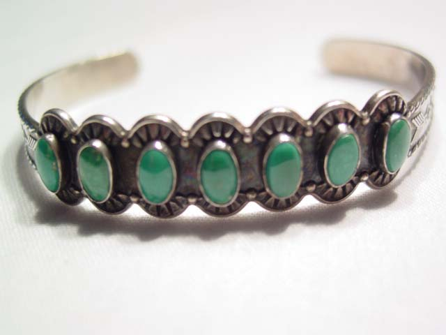 Indian Design Green Turquoise Thin Cuff Bracelet