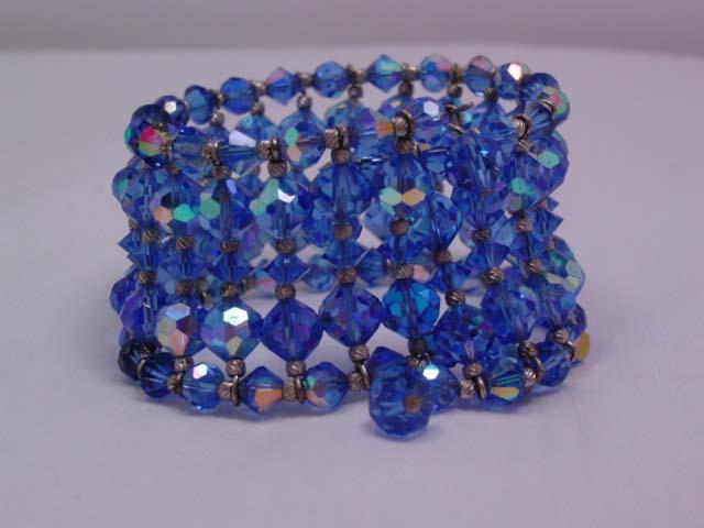 Beautiful Wide Blue Aurora Borealis Bead Bracelet