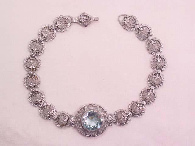 Gorgeous Old Silvertone Filigree and Aquamarine Bracelet