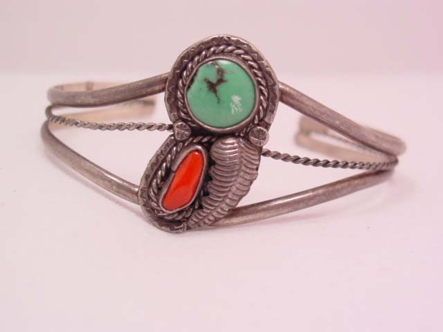 Slip-on Turquoise and Coral Bracelet