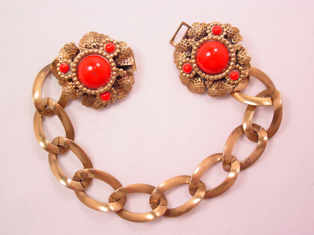 Brass and Red Glass Old Bracelet