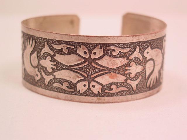 Fish, Bird and Hamsa Hand Cuff Bracelet