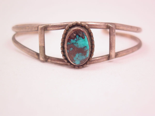 Turquoise and Silver Small Cuff Bracelet