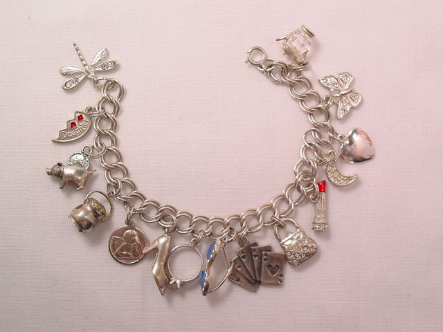 Old Sterling Charm Bracelet with 15 Charms