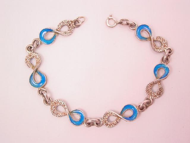 Double-Sided Sterling Blue Enamel Eternity Bracelet