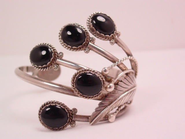 Onyx and Sterling Cuff BB Bracelet
