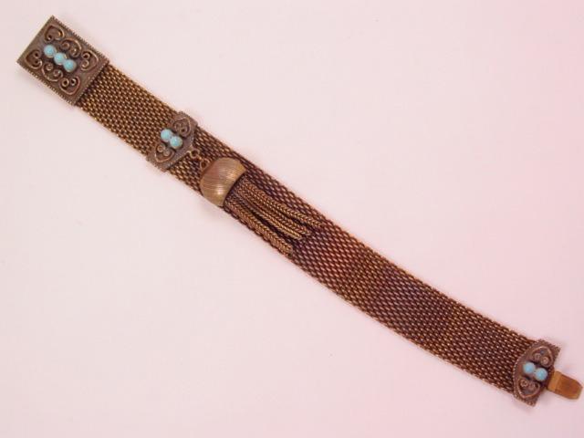 Beautiful Mesh and Imitation Turquoise Bracelet