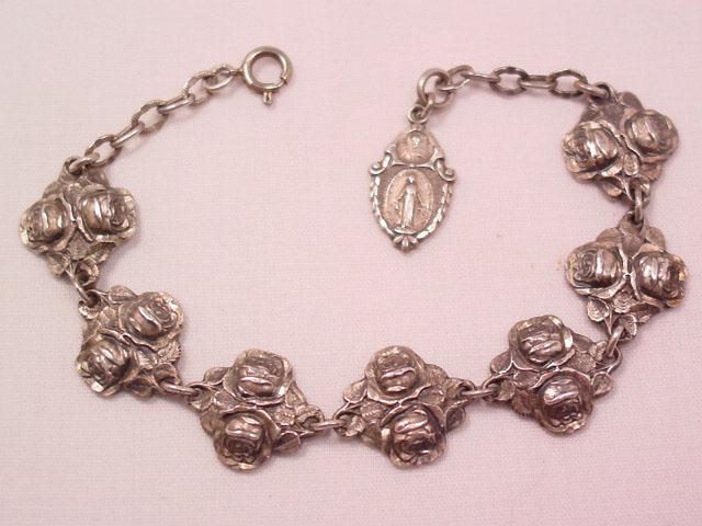 Sterling Double-Rose Religious Bracelet