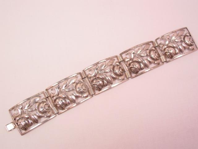 Heavy Sterling Rectangle-Linked Rose Bracelet