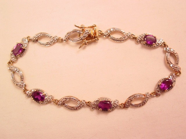 Amethyst and Sterling Chinese Bracelet