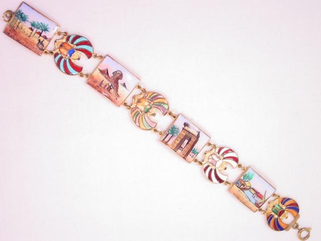 Fantastic Enamelled and Porcelain Scarab and Egyptian Bracelet