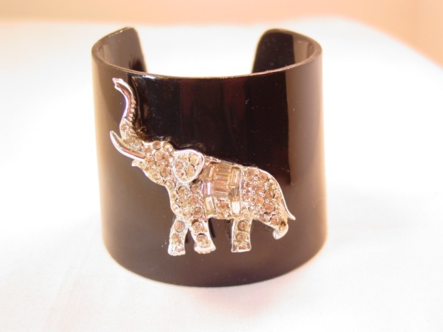 Rhinestone Elephant and Black Plastic Cuff Bracelet